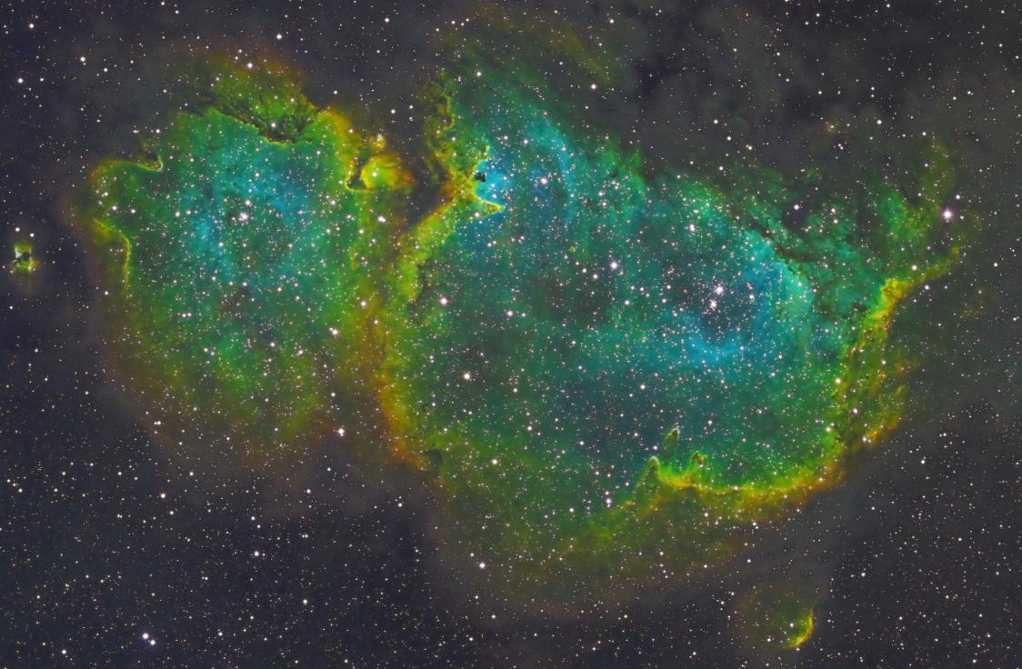 Heart and Soul Nebula in SHO